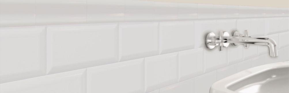 Beveled ceramic subway tile