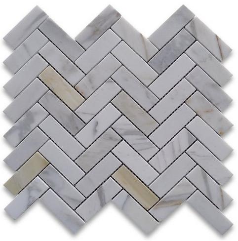 Calacatta Marble HONED 1×3 Herringbone Mosaics