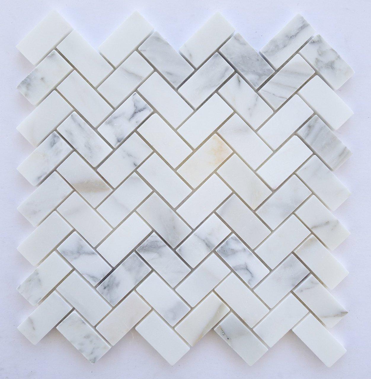 Calacatta Marble Polished 1 215 2 Herringbone Mosaics