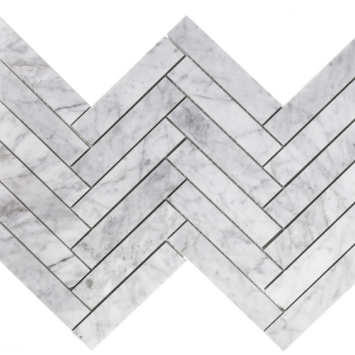 Carrara Marble HONED  1.5×6 Herringbone Mosaic