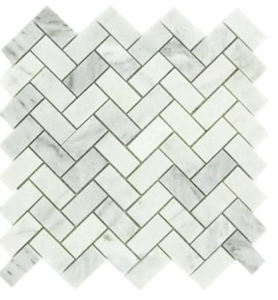 Carrara Marble HONED 1×2 Herringbone Mosaics