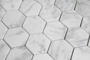 Carrara Marble HONED 2 Inch Hexagon Mosaics