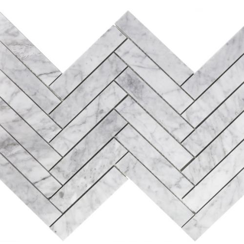 Carrara Marble POLISHED 1.5×6 Herringbone Mosaic